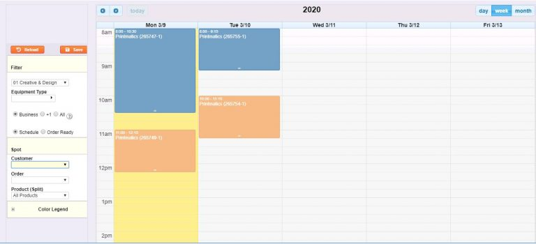 Screen Printing Shop Management Software Production Calendar